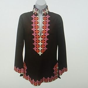 Tory Burch 2 Brown pink embroidered v-neck blouse